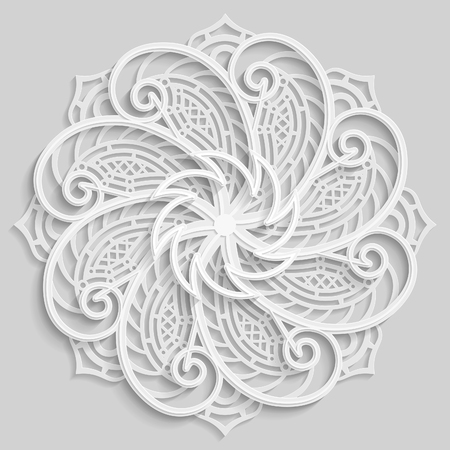 paper punch: Lace 3D mandala,  round symmetrical openwork pattern,  decorative  snowflake, arabic ornament, decorative design element,  vector