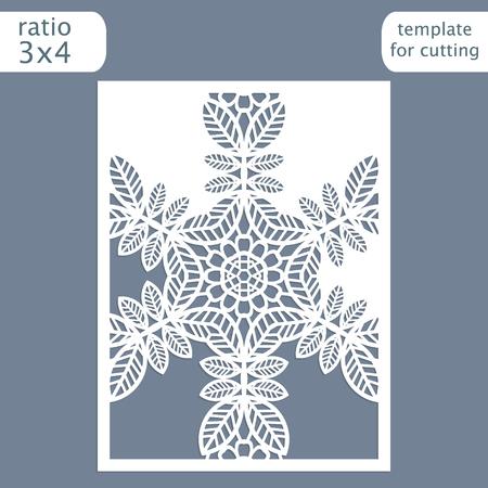 pasteboard: Laser cut wedding invitation card template. Illustration