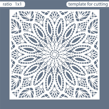 Template square greeting cards laser cut. Suitable for wedding invitations. Template greeting card for cutting plotter. Abstract round pattern. Vector illustrations. Ilustração Vetorial