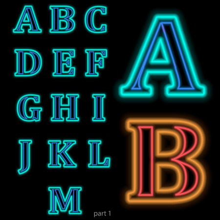 changed: Luminous neon alphabet Vector font. The color of light is easily changed.