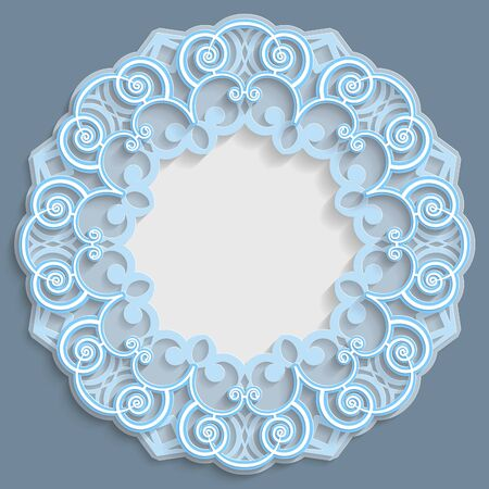 punching: 3D round frame for a photo or picture, vignette with ornaments, lace border,  bas-relief ornament,  openwork  pattern, template greetings, vector Illustration