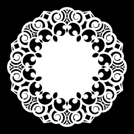 clothing rack: Lace round paper doily, lacy snowflake, greeting element,  template for cutting  plotter, laser cut  template, doily to decorate the cake,  vector illustrations.
