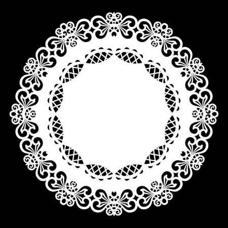 Lace round paper doily, lacy snowflake, greeting element,  template for cutting  plotter, laser cut  template, doily to decorate the cake,  vector illustrations.