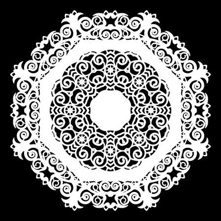 weave: Lace round paper doily, lacy snowflake, greeting element,  template for cutting  plotter, laser cut  template, doily to decorate the cake,  vector illustrations.