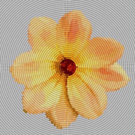 Mosaic background - flower.  Yellow flower on a gray background.  Vector illustration. Illustration
