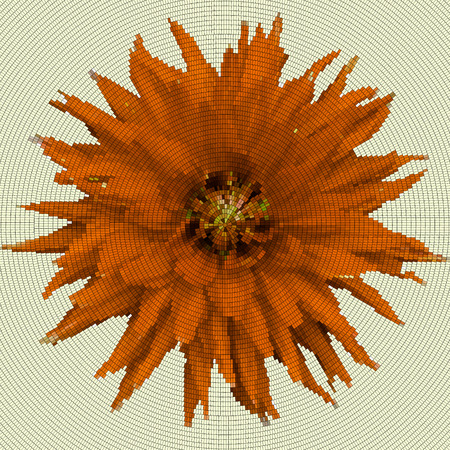 Mosaic background - flower.  Brown flower on a yellow background.  Vector illustration.