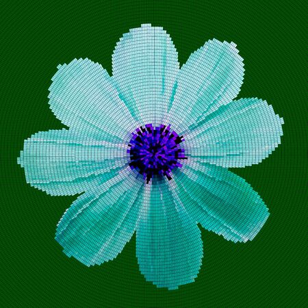 Mosaic background - flower.  Cyan blue flower on a green background.  Vector illustration.