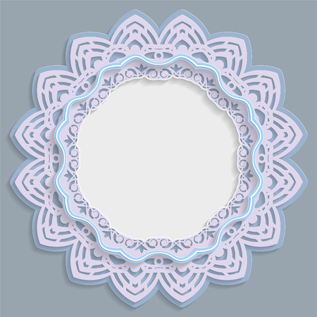 3D round frame for a photo or picture, vignette with ornaments, lace border,  bas-relief ornament,  openwork  pattern, template greetings, vector Illustration