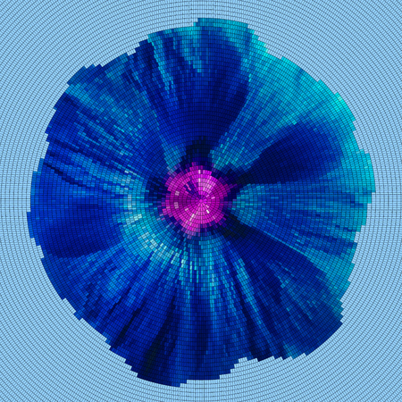 to spend the summer: Mosaic background - flower.  Blue  lilac flower on a cyan background.  Vector illustration.