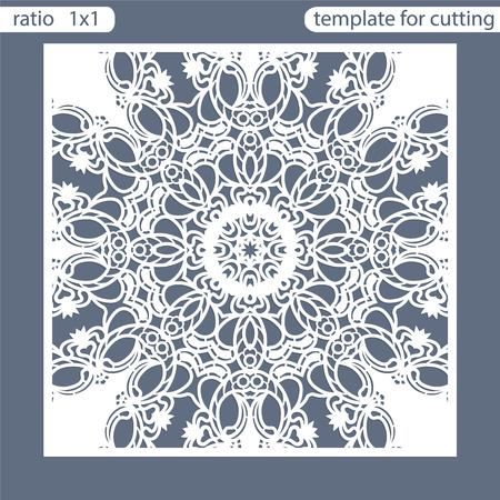 Template square greeting cards laser cut. Suitable for wedding invitations. Template greeting card for cutting plotter. Abstract round pattern. Vector illustrations.