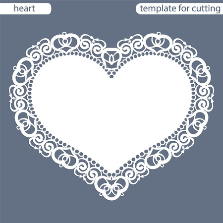 perforation: Greeting card with openwork border, paper doily under the cake, template for cutting in the form of heart, valentine card,  wedding invitation, decorative plate is laser cut,  vector illustrations.