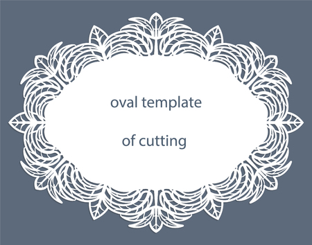 perforation: Greeting  card with decorative  oval border, doily of paper under the cake, template for cutting, wedding invitation, decorative plate is laser cut, vector illustrations. Illustration