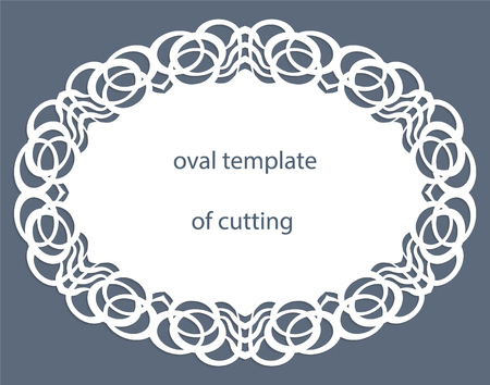 pasteboard: Greeting  card with decorative  oval border, doily of paper under the cake, template for cutting, wedding invitation, decorative plate is laser cut, vector illustrations. Illustration