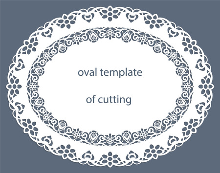 the appearance: Greeting  card with decorative  oval border, doily of paper under the cake, template for cutting, wedding invitation, decorative plate is laser cut, vector illustrations. Illustration