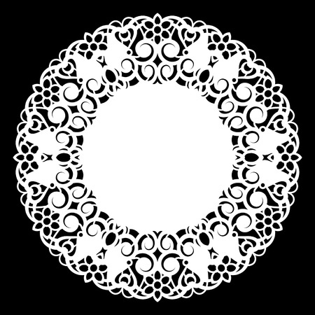 clothing rack: Lace round paper doily, lacy snowflake, greeting element, laser cut  template, doily to decorate the cake,  vector illustrations.