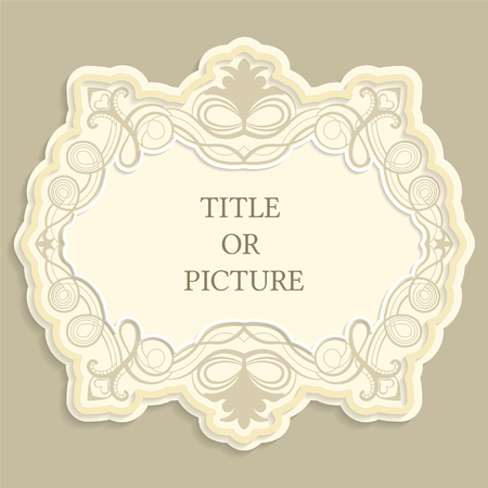 Vector label, vintage frame for an inscription, calligraphic ornament, template to cut paper , 3D effect. Illustration