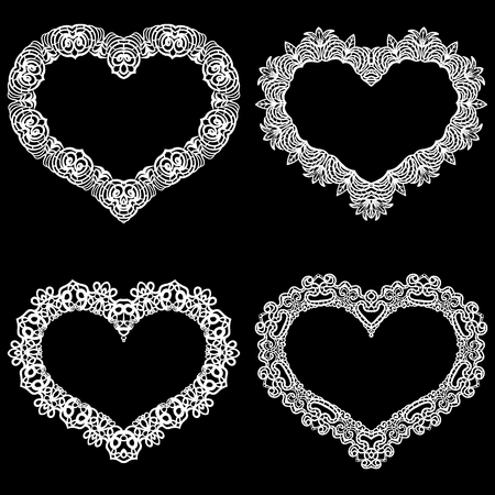 the appearance: Laser cut frame in the shape of a heart with lace border.  A set of the foundations for paper doily for a wedding.  Vector templates for cutting out.