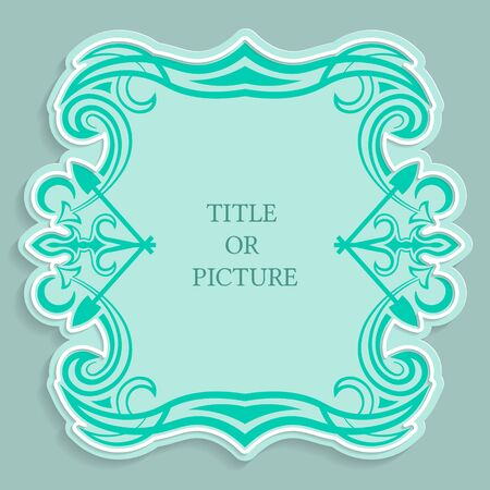 Vector label, vintage frame for an inscription, calligraphic ornament, template to cut paper , 3D effect. Ilustrace