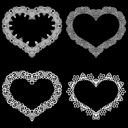 pasteboard: Laser cut frame in the shape of a heart with lace border.  A set of the foundations for paper doily for a wedding.  Vector templates for cutting out.