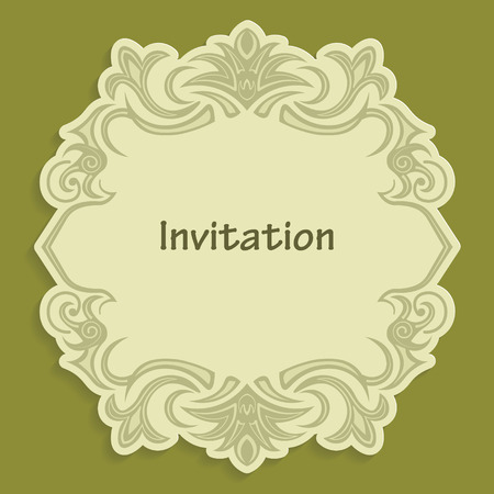 caligraphic: Template cut out of paper cards with kaligraficheskim gold pattern. Design a wedding invitation or an invitation to another event. Vintage label for different goods. Vector billet for laser cutting. Illustration