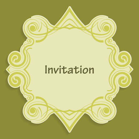 pasteboard: Template cut out of paper cards with kaligraficheskim gold pattern. Design a wedding invitation or an invitation to another event. Vintage label for different goods. Vector billet for laser cutting. Illustration