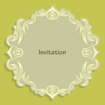 Template cut out of paper cards with kaligraficheskim gold pattern. Design a wedding invitation or an invitation to another event. Vintage label for different goods. Vector billet for laser cutting. Illustration