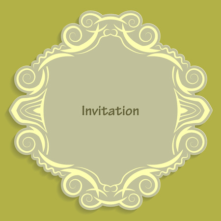 caligraphic: Card template for cutting out paper. A caligraphic gold pattern is made along the edge. Suitable for an invitation to a wedding or other event. Vector billet for laser cutting. Illustration