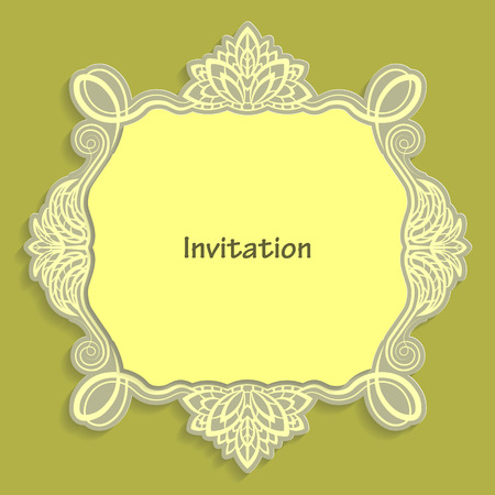 pasteboard: Card template for cutting out paper. A caligraphic gold pattern is made along the edge. Suitable for an invitation to a wedding or other event. Vector billet for laser cutting. Illustration