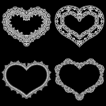 Laser cut frame in the shape of a heart with lace border.  A set of the foundations for paper doily for a wedding.  Vector templates for cutting out.