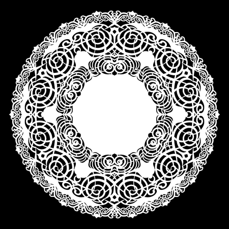 Lace round paper doily, lacy snowflake, greeting element, laser cut  template, doily to decorate the cake,  vector illustrations.