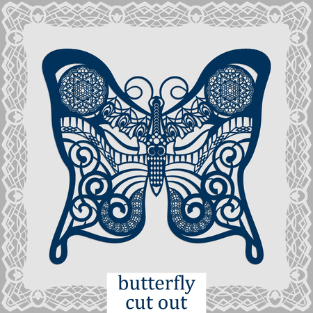 butterfly isolated: Butterfly - a template for laser cutting. Design element for a wedding, romantic meeting or greeting card.  Can be used as a decorative element in the construction, in the windows. Vector.