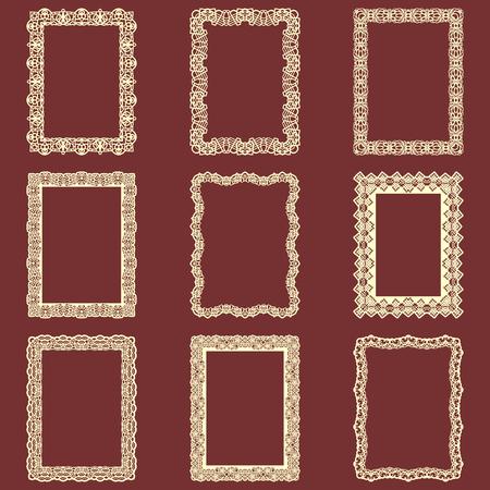 Set di cornici rettangolari d'epoca isolato sfondo. Elementi di disegno vettoriale che possono essere tagliati con un laser. Un insieme di cornici realizzate con bordi decorativi di pizzo.