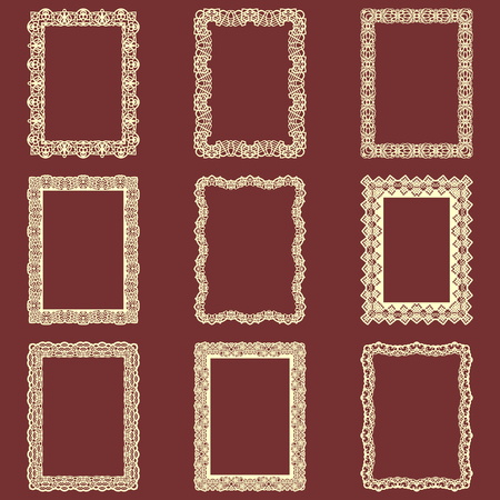 Set of rectangular vintage frames isolated background. Vector design elements that can be cut with a laser. A set of frames made of decorative lace borders.