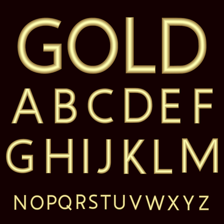 A complete set of Latin letters made from gold wire with a matte surface. Font is isolated by a velvety dark crimson background. Letters are made in 3D shapes with smooth edges. Vector illustration.