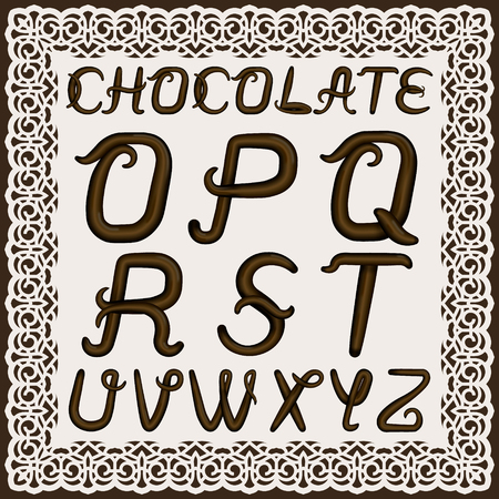 A set of uppercase Latin letters made of  chocolate cream. The font is isolated by a background in a lacy frame. Letters have 3D effect.  Part 2. Vector illustration.