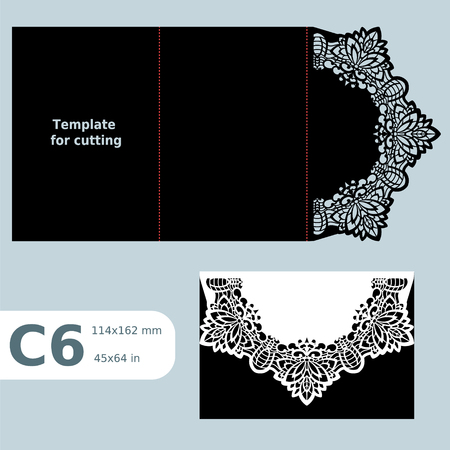 C6 paper openwork greeting card,  wedding invitation,  lace invitation, card with fold lines, object isolated background, laser cut template, vector illustration Illustration