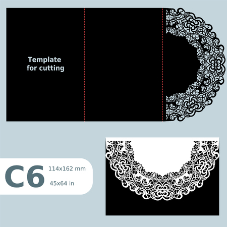 C6 paper openwork greeting card,  wedding invitation,  lace invitation, card with fold lines, laser cut template. Illustration