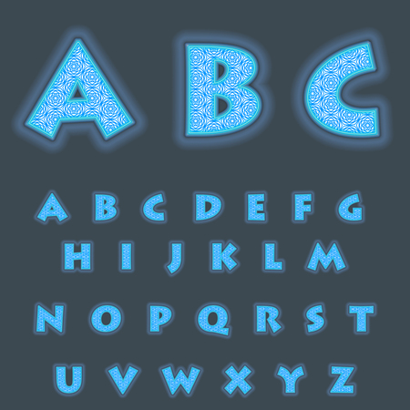 A complete set of Latin cyan  letters with a lace mesh inside. Font is isolated by a dark background. Letters are made in 3D shapes with smooth edges. Around the letters a blue backlight. Vector illustration.