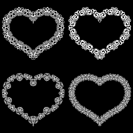 Hearts with lace border icon. Illustration