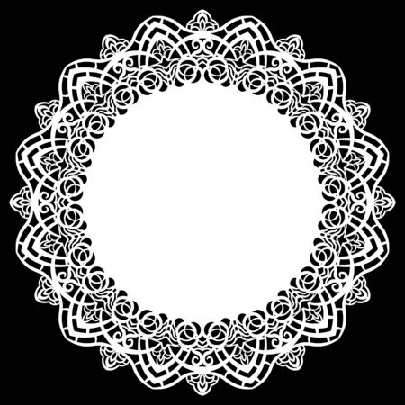 Lace round paper doily, lacy snowflake, greeting element, laser cut.