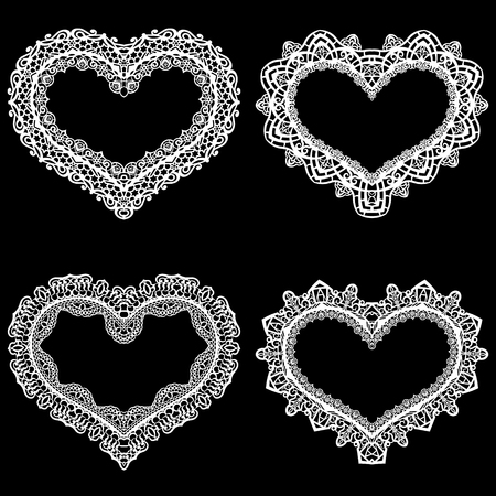 Laser cut frame in the shape of a heart with lace border Illustration