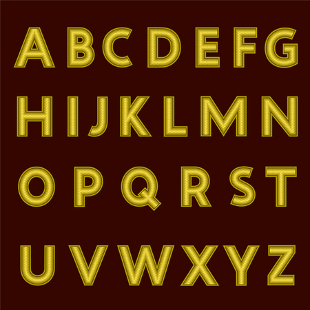 A complete set of gold letters with a relief surface. The edges of the letters are made with thin wire. Font is isolated by a dark red  background. Letters are made in 3D shapes. Vector illustration.