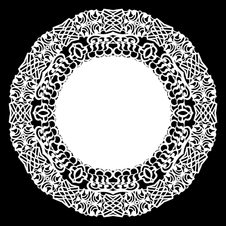 Lace round paper doily. 向量圖像