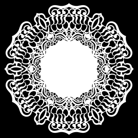 website backgrounds: Lace round paper doily, lacy snowflake, greeting element, laser cut  template, doily to decorate the cake,  vector illustrations.