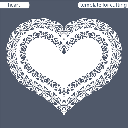 pasteboard: Greeting card with openwork border, paper doily under the cake, template for cutting in the form of heart, valentine card,  wedding invitation, decorative plate is laser cut,  vector illustrations.