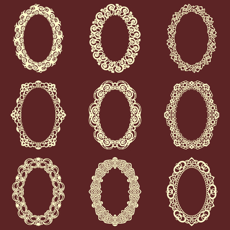 ba8767f00ba9 Set of oval vintage frames isolated background. Vector design elements that  can be cut with