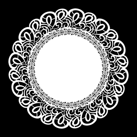 Lace round paper doily, lacy snowflake, greeting element, laser cut template.