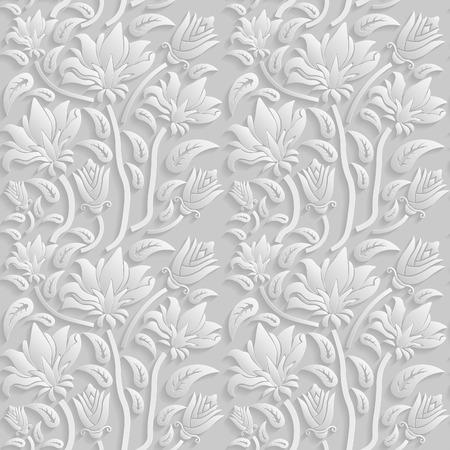 白い花の 3 D シームレスなパターン、ベクトル。無限のテクスチャは、壁紙、パターンの塗りつぶし、web ページの背景テクスチャに使用できます。