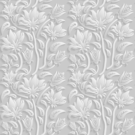원활한 3D 흰색 꽃 패턴, 벡터. 끝없는 질감은 벽지, 패턴 채우기, 웹 페이지 배경, 표면 텍스처에 사용할 수 있습니다.