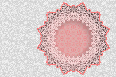 Floral white  background  and  frame in the shape of a star with an lace border on the edge  for greeting card, can be used as a template for an invitation to a wedding. Space for text, paper cut out, vector illustration.
